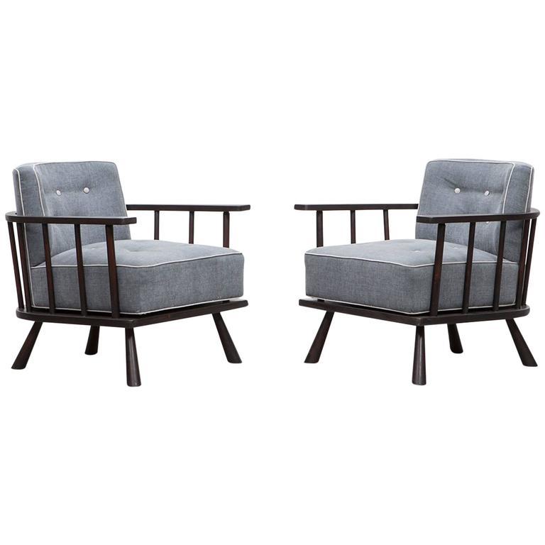 Pair of T.H. Robsjohn-Gibbings Lounge Chairs 'B', * NEW UPHOLSTERY *