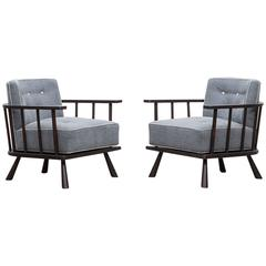 Pair of T.H. Robsjohn-Gibbings Lounge Chairs 'B', * NEW UPHOLSTERY *