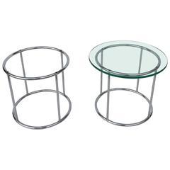 Pair of Petit Nickel Round End Tables