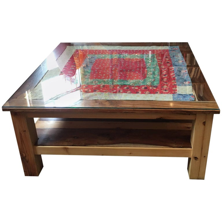 Unusual hardwood coffee table with embroidered panel for for Unusual tables for sale