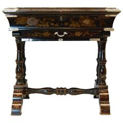 Japan-Lacquered Chinoiserie Scholars or Writing Table with Silver Mounts
