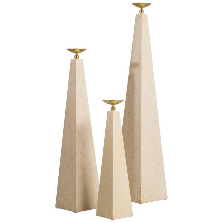 Set of Three Maitland Smith Stone Veneered Obelisks, 1980s