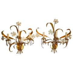 Pair of Large Gilt Metal Floral Sconces