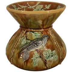 19th Century Majolica Vase with Birds
