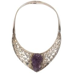 Brutalist 1970s Mexican Silver and Amethyst Necklace by Josefina Zagal