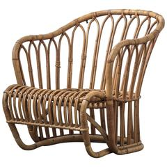 Rare Tove Kindt-Larsen Bamboo Rattan Easy Chair
