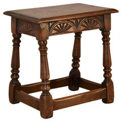 19th Century English Oak Carved Joint Stool
