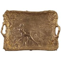 Art Nouveau Gilt Bronze Tray by Alexandre Vibert
