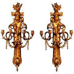 Large Pair of Louis XVI Style Wall Lights