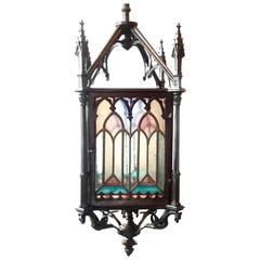 Beautiful Antique French Bronze and Stained Glass Gas Gothic Lantern