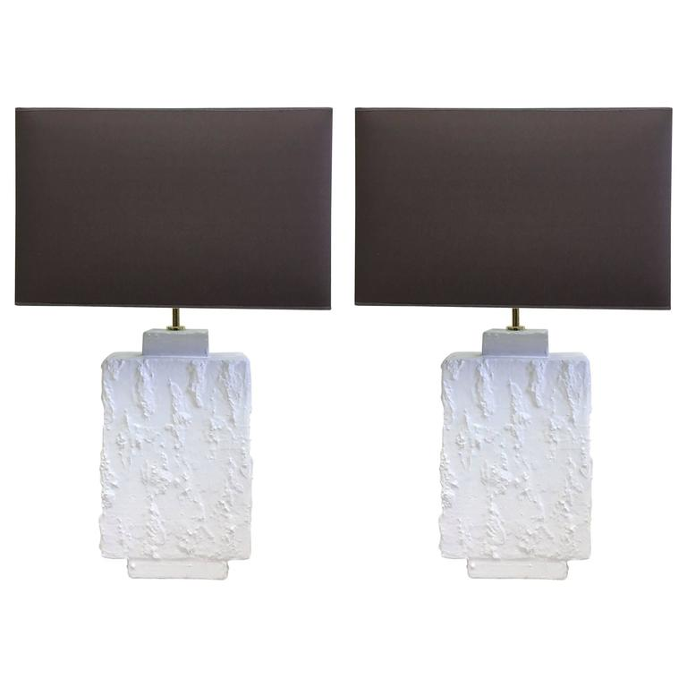 Pair French Mid-Century Modern Plaster & Gesso Table Lamps, Style of Giacometti