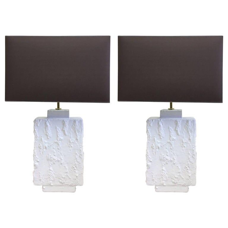 Pair French Mid-Century Modern Plaster & Gesso Table Lamps, Style of Giacometti For Sale