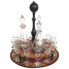 Red Tole Decanter Set, Early 19th Century