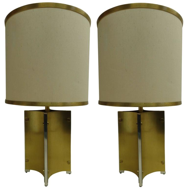 Pair of Brass and Steel Table Lamps Attributed to Romeo Rega