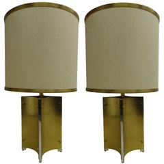 Pair of Italian Midcentury Brass and Steel Table Lamps Attributed to Romeo Rega