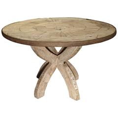 Round Table from France Made of Salvaged Wood and Iron