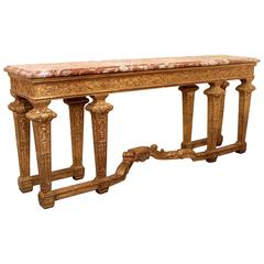 Very Finely Carved Late 19th Century Giltwood Eight Legged Console