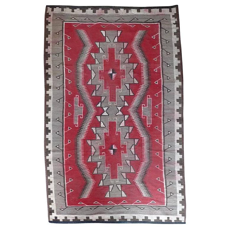 Navajo Vintage Handwoven Wool Rug.