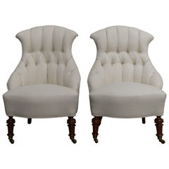 Pair of Vintage Swedish Emma Tufted Slipper Chairs, circa 1900's