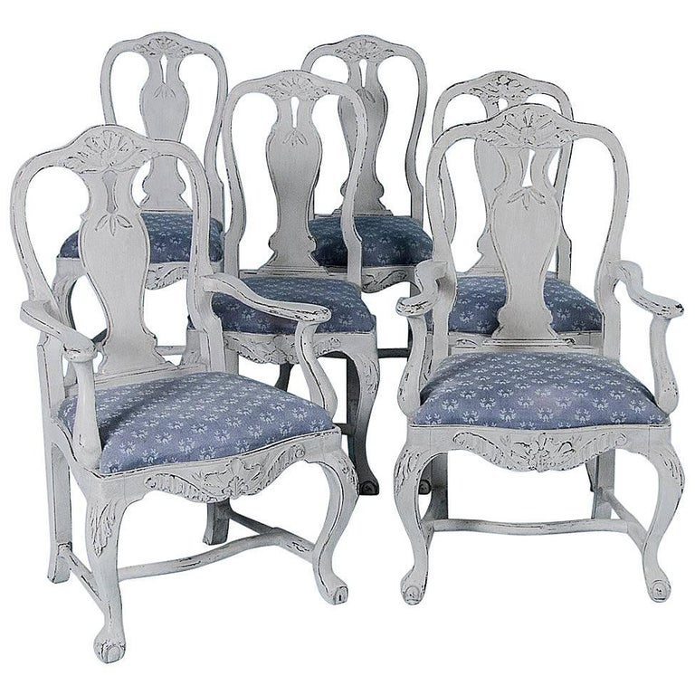 Set of Six Antique 19th Century Swedish Gustavian Dining Chairs with Gray Paint For Sale