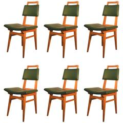 French Work circa 1950-1960, Set of Six Tinted Beech Chairs