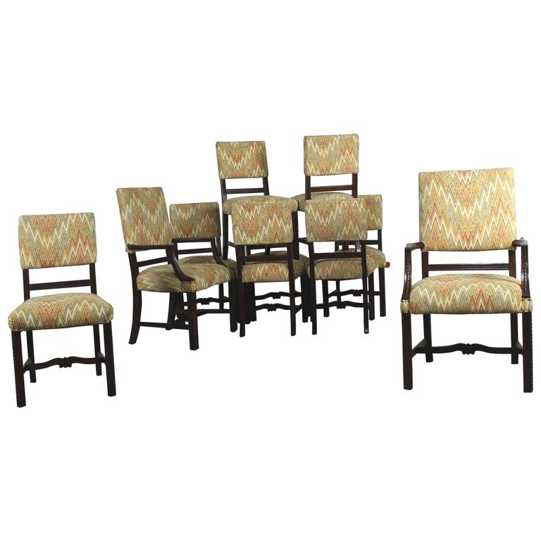 Vintage Set of Ten Georgian Revival Chippendale Style Upholstered Dining Chairs