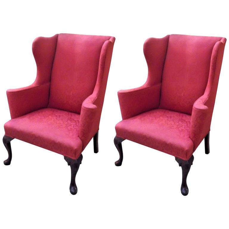 Pair Of Antique English Wingback Chairs At 1stdibs
