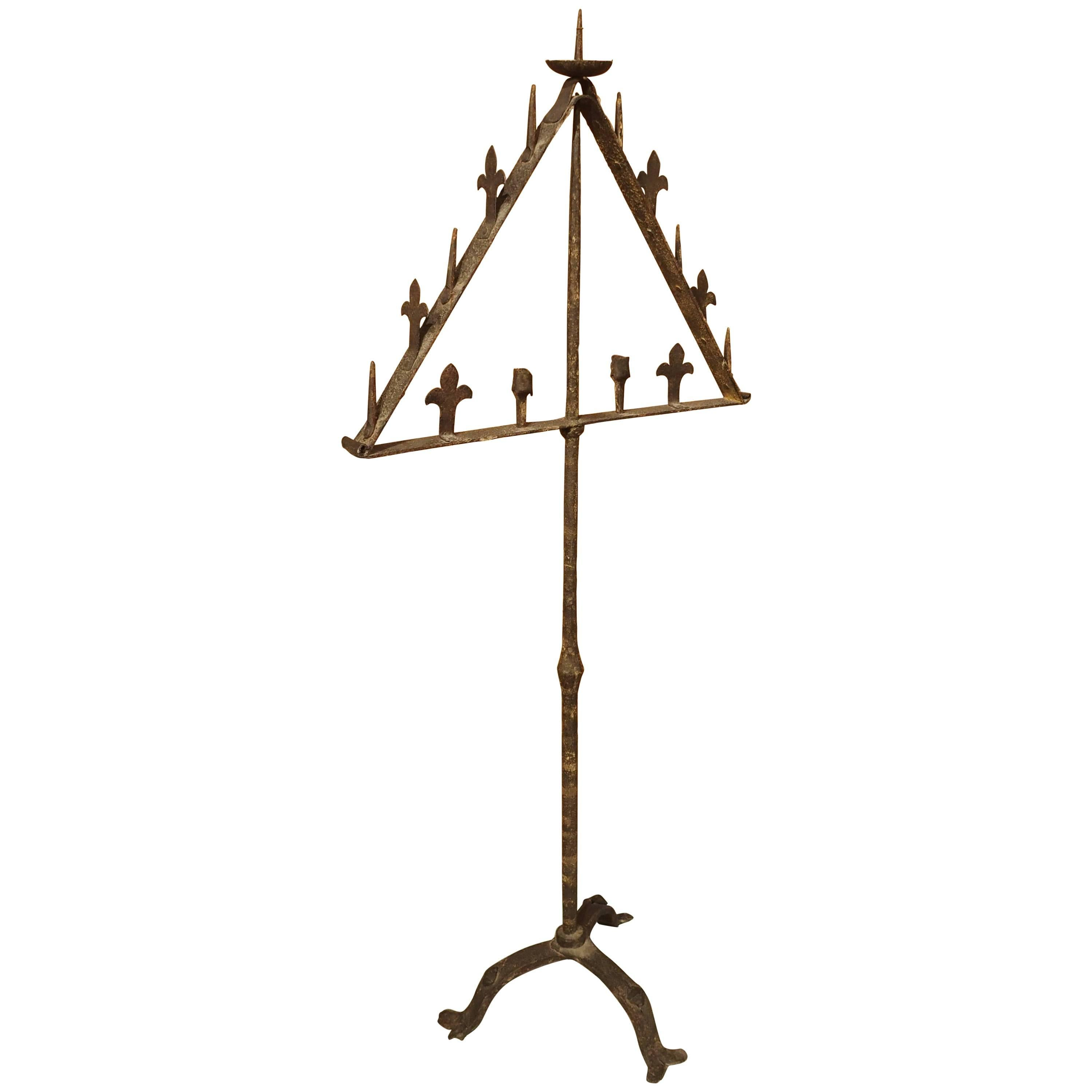 Antique Wrought Iron Torchere from Italy, 18th Century