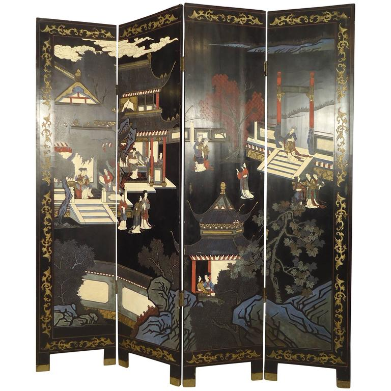 Decorative Double Sided Asian Screen / Divider For Sale