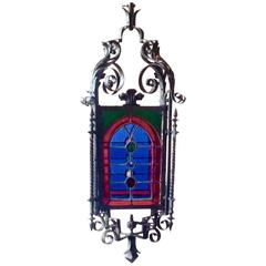 Antique French Gas Iron and Stained Glass Lantern