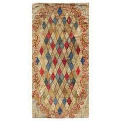 Colorful 19th Century Antique American Hooked Rug with Diamond Design