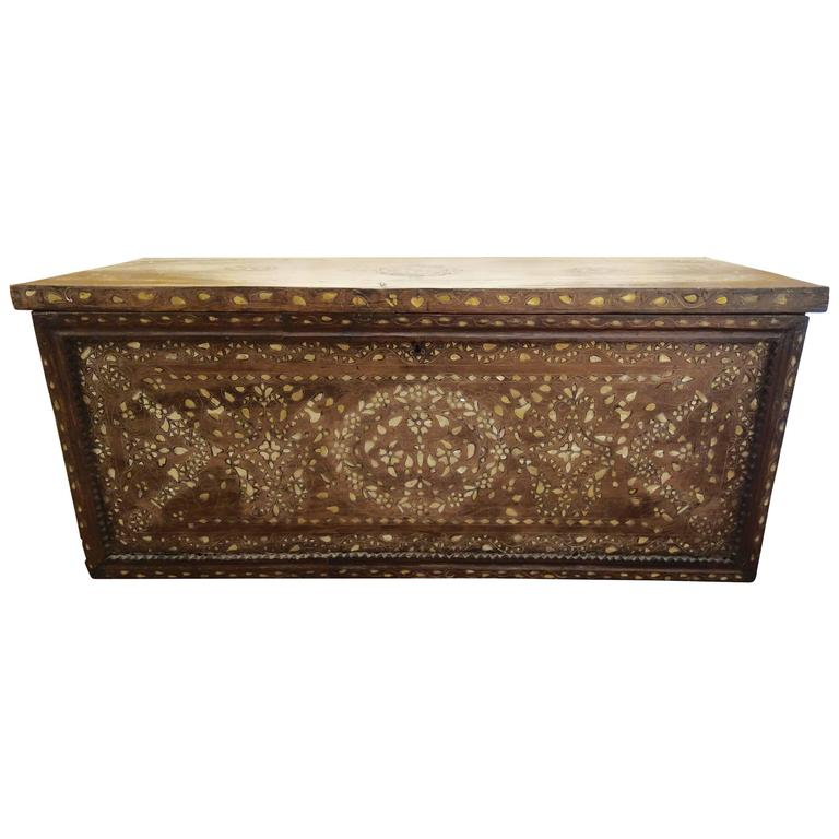 Large 19th Century Syrian Trunk with Mother-of-Pearl Inlay For Sale