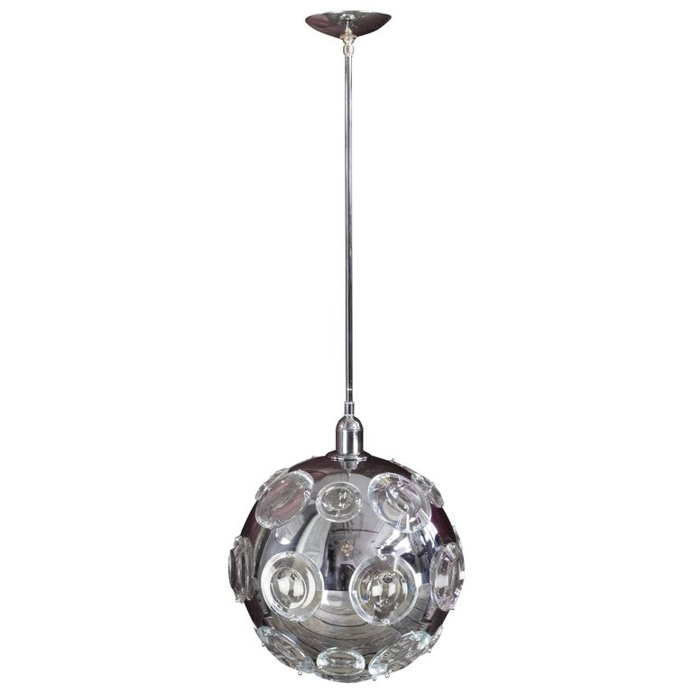1970s French Chrome Orb Chandelier