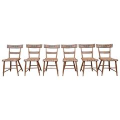 Set of Six Salmon Painted and Decorated Chairs, Pennsylvania, circa 1840