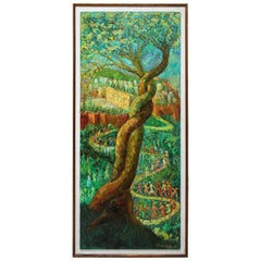 "Large Post Expressionist Oil Painting ""Oh Jerusalem"" by Chaim Goldberg"