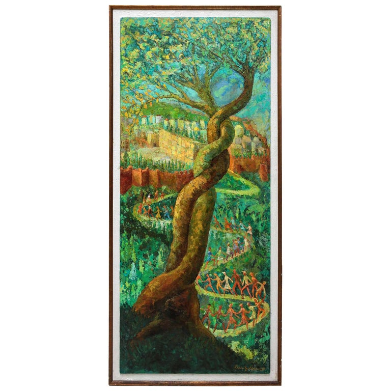 """Large Post Expressionist Oil Painting """"Oh Jerusalem"""" by Chaim Goldberg For Sale"""