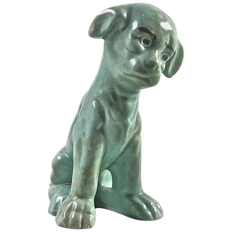 "Charming Antique Pottery Terrier Figure ""My Friendly Terrier"" Celadon Glaze 1960"