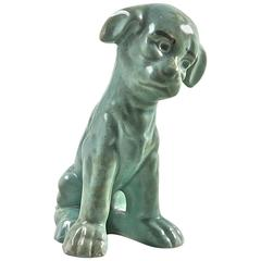 "Charming Antique Pottery Terrier Figure ""My Friendly Terrier"" Celadon Glaze 1960"