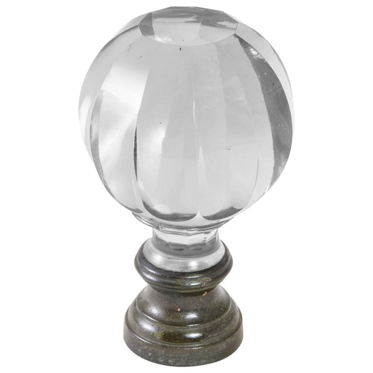 19th Century Baccarat Crystal Staircase Finial Bronze Base Pristine  Condition For Sale