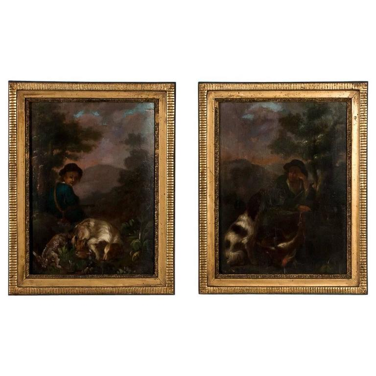 Pair Of Antique 19th Century French Oil Paintings Of