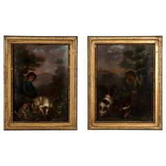 Pair of Antique 19th Century French Oil Paintings of Hunting Scenes on Panel