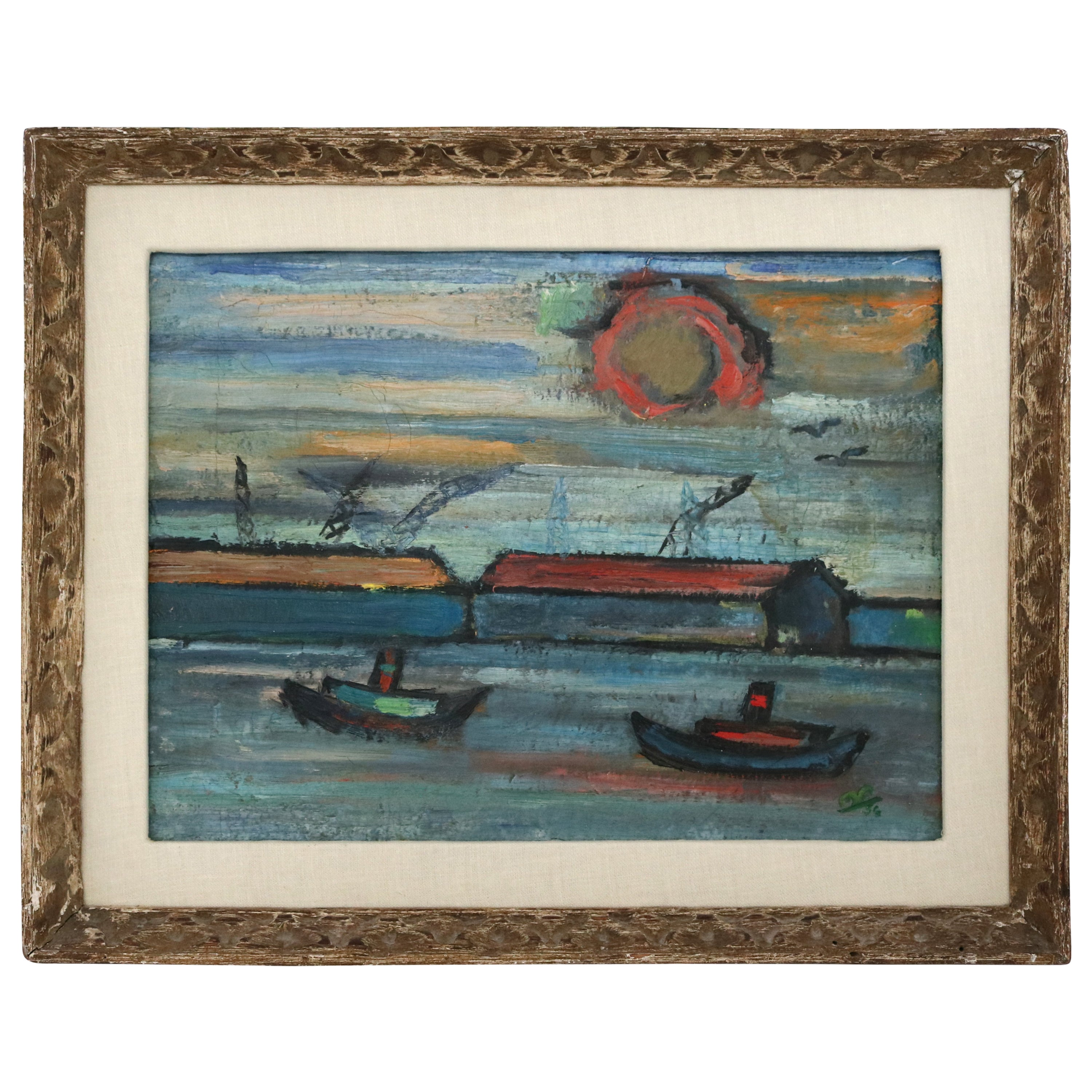 Oil on Canvas Impressionist Painting of a Harbor Scene, circa 1956