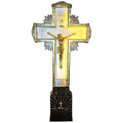 Portable Neon Crucifix with Stand and Traveling Case
