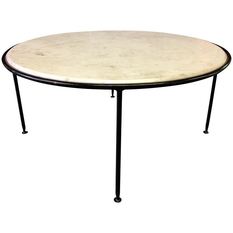 Mid Century Modern Round Iron And Marble Coffee Table Atomic Age At