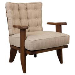 Guillerme et Chambron Petite Oak Armchair with Hidden Cup Holder
