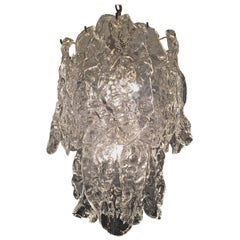 Mazzega Clear Textured Glass Chandelier