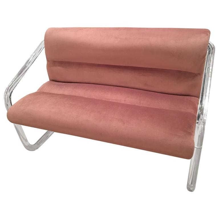 Lion in Frost, Newly Upholstered Lavender Velvet, Lucite and Chrome Settee Bench For Sale