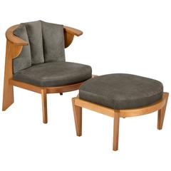 Friedman Chair and Ottoman Set by Frank Lloyd Wright by Cassina
