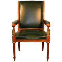 Large Neoclassical Desk Armchair, circa 1950