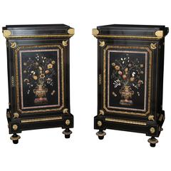 Fine Pietre Dure Pair of Side Cabinets by Mombro the Eldest, 19th Century